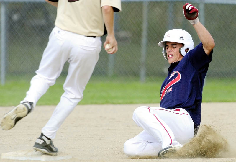CLOSE, BUT OUT: Augusta baserunner Luke Duncklee is forced out at second base as the Brewer shortstop steps on the bag Saturday during an American Legion baseball state tournament game in Augusta.