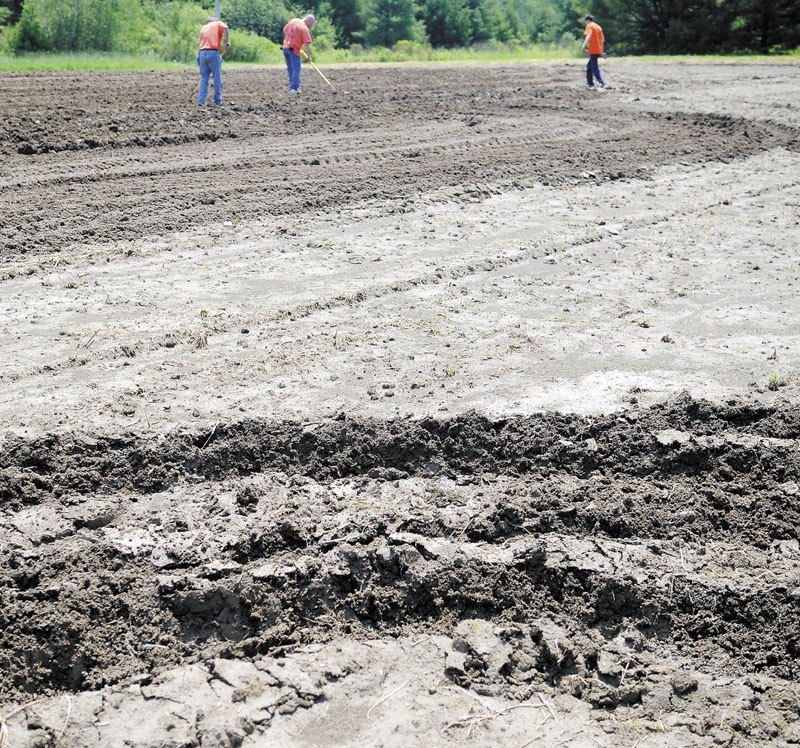 PRISONERS PLOTTING: Kennebec County jail inmates cover potato seeds planted recently at a plot the prisoners are cultivating in Augusta. Inmates are working roughly 11 acres over multiple locations, according to Kennebec County Sheriffs Office Lt. Michael Hicks.