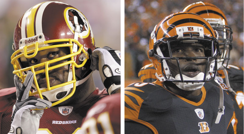 NEW GUYS: The New England Patriots added two playmakers to their roster Thursday, trading for the troubled Albert Haynesworth, left, and Chad Ochocinco, right.