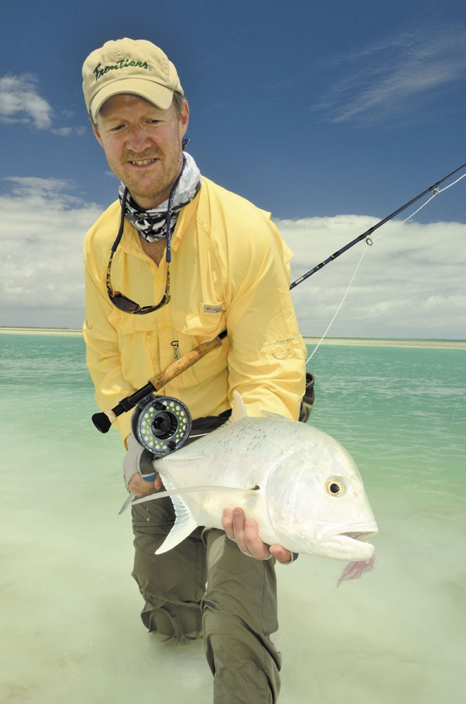 Augusta native Joe Linscott holds a bonefish he caught this spring at Christmas Island in the South Pacific. Linscott works for Frontiers Travel, a Pittsburgh company that caters to fishermen and hunters seeking worldwide adventures. Christmas Island