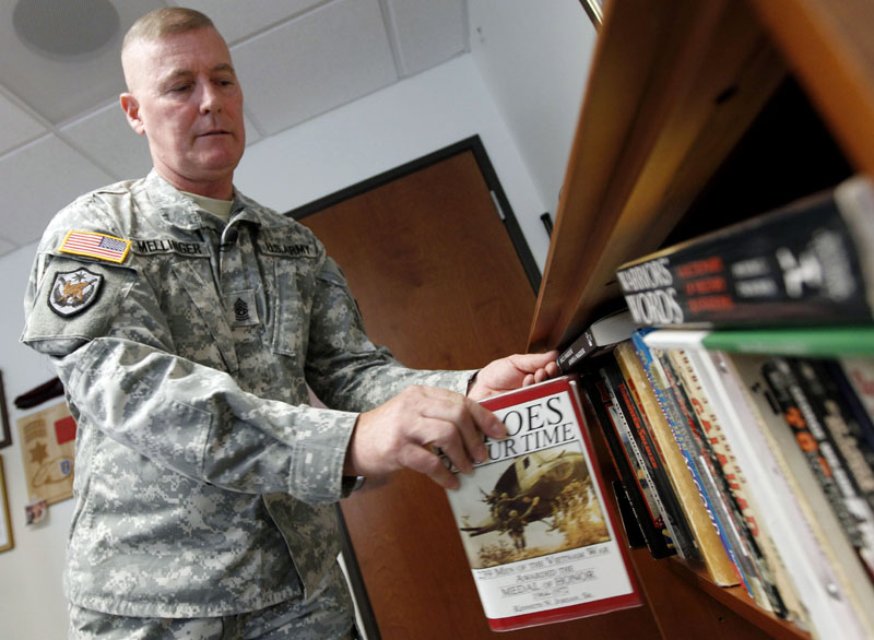 SERVING HIS COUNTRY: Command Sgt. Maj. Jeff Mellinger is believed by the Army to be the last draftee to retire. He was drafted to fight in the Vietnam War in 1972 and has spent 39 years in the Army.