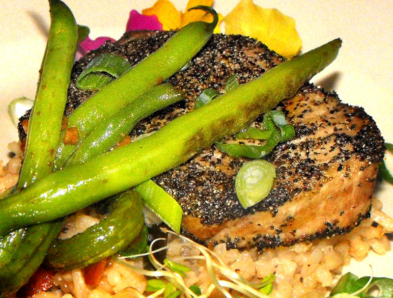 TASTE OF MAINE: Pan-seared, black pepper-crusted Gulf of Maine tuna.