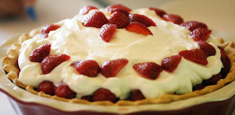 This is one of the entries in the strawberry pie contest on Saturday morning at the Pittston Fair.