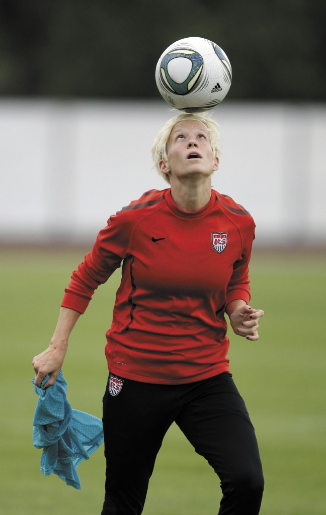 United States' Megan Rapinoe juggles the ball with her head during a training session in preparation for the final match against Japan during the Women's Soccer World Cup in Frankfurt, Germany, The game is set for 2:45 p.m. today and will be on ESPN.