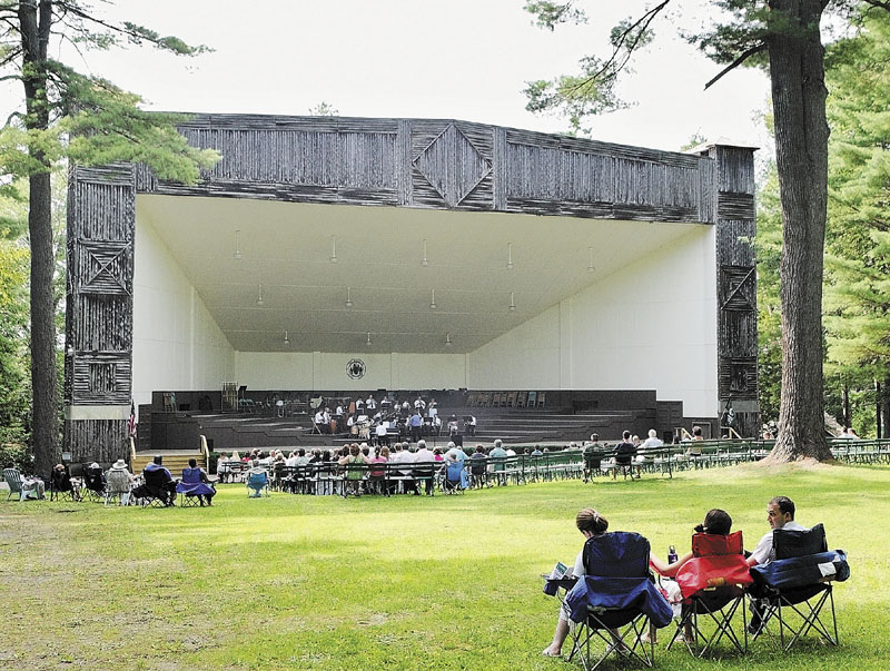 NOW PLAYING: A band plays a concert in the Bowl in the Pines on Saturday afternoon at New England Music Camp in Sidney.