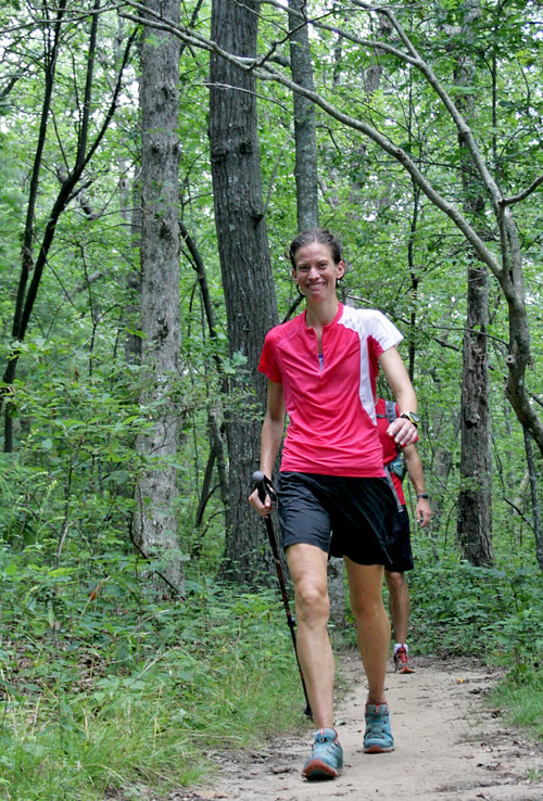 Jennifer Pharr Davis walks on Springer Mountain, Ga., on July 31 in this photo provided by her mother, Barbara Pharr.