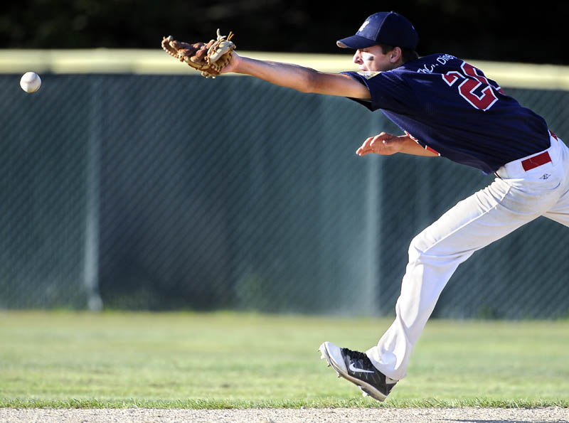 OUT OF REACH: Augusta Legion second baseman Chandler Shostak can't catch a line drive against Gayton Post during the American Legion state championship game Sunday in Augusta.