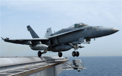 This image provided by the US Navy shows an F/A-18C Hornet launching from the Nimitz-class aircraft carrier USS John C. Stennis (CVN 74) in this March 27, 2007 file photo. A U.S. Coast Guard spokesman says military officials are searching for a U.S. Marine Corps fighter jet similar to this one shown that went missing Wednesday Aug. 10, 2011 over the Pacific Ocean near San Diego.