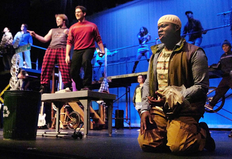 """The Fairway Players rehearse a scene from """"Rent"""" at the Winthrop Performing Arts Center."""