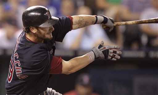 Boston's Jarrod Saltalamacchia hits a three-run home run during the fifth inning of the Red Sox' 7-1 win over the Kansas City Royals on Friday in Kansas City, Mo.