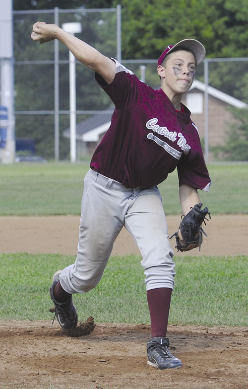 HERE'S THE PITCH: Central Maine starting pitcher Nick Mayo throws a pitch to a Cranston, R.I., batter during Thursday's 13-year-old Babe Ruth New England Regional game in Norwalk, Conn.