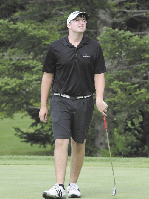 TOUGH SHOT: Madison's Seth Sweet reacts after missing a putt on the ninth hole during the 75th Maine Junior Championship on Tuesday at Val Halla Golf Course in Cumberland.