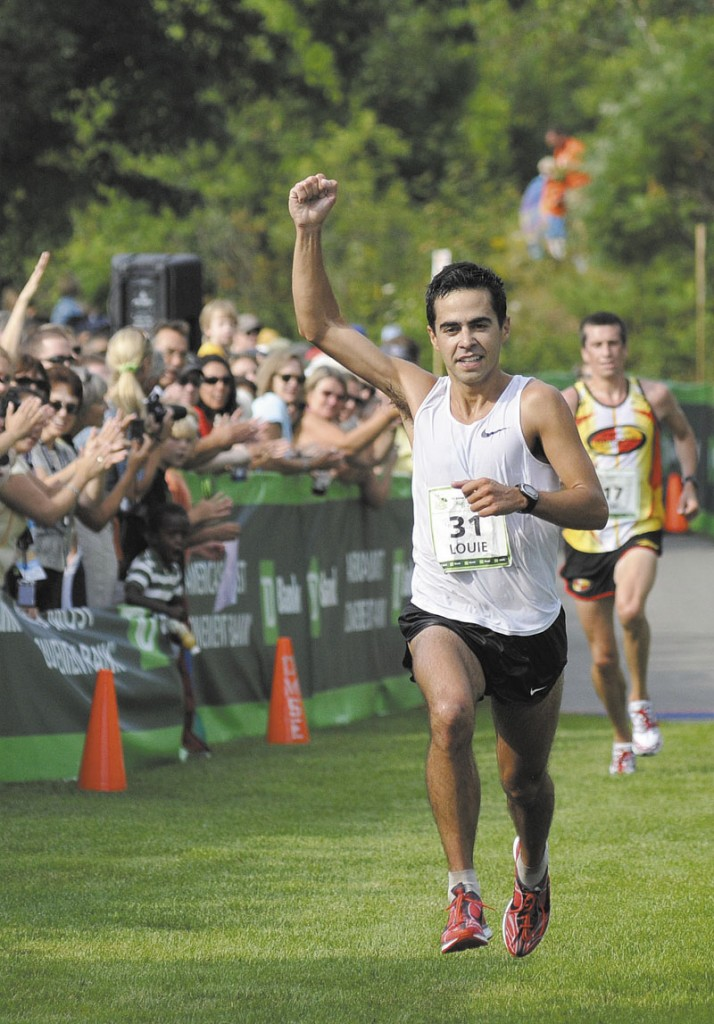 FINALLY FIRST: Louie Luchini added to his storied career by winning his first Maine men's title at the Beach to Beacon 10K Saturday in Cape Elizabeth.