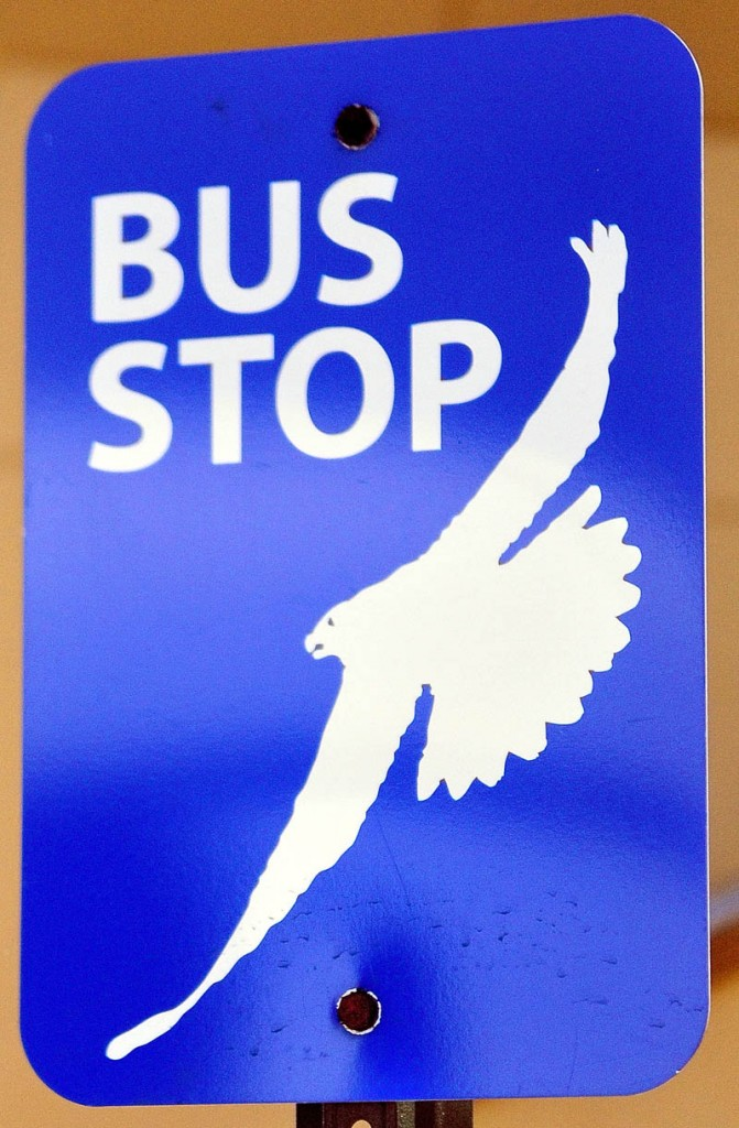 The Kennebec Explorer bus top signs feature an osprey.