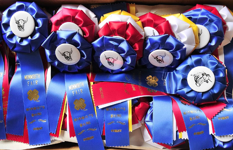 A box of ribbons with cattle buttons await winners of the 4-H and open beef and dairy cattle shows on Thursday morning at the Monmouth Fairgrounds on Academy Road in Monmouth. The fair runs through Saturday.