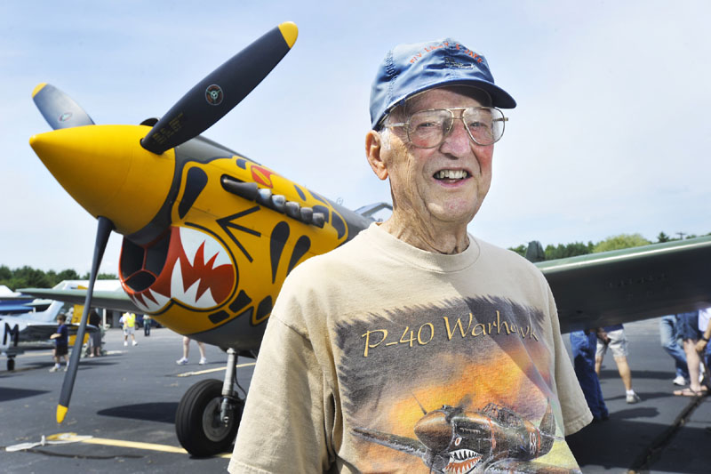 The Texas Flying Legends, who maintain and fly one of the largest collections of World War II aircraft are holding a show at the Wiscasset airport over the weekend. Casey Cooke traveled down to the show from Belgrade to see a P-40 Warhawk similar to the one he flew in the closing months of WWII.