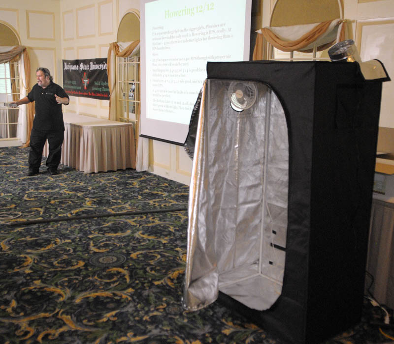 Ray Logan teaches Marijuana State University on Saturday afternoon in Augusta. He gave a Powerpoint presentation and also had a booth used to grow plants and other items on display, but had no plants or processed marijuana there.