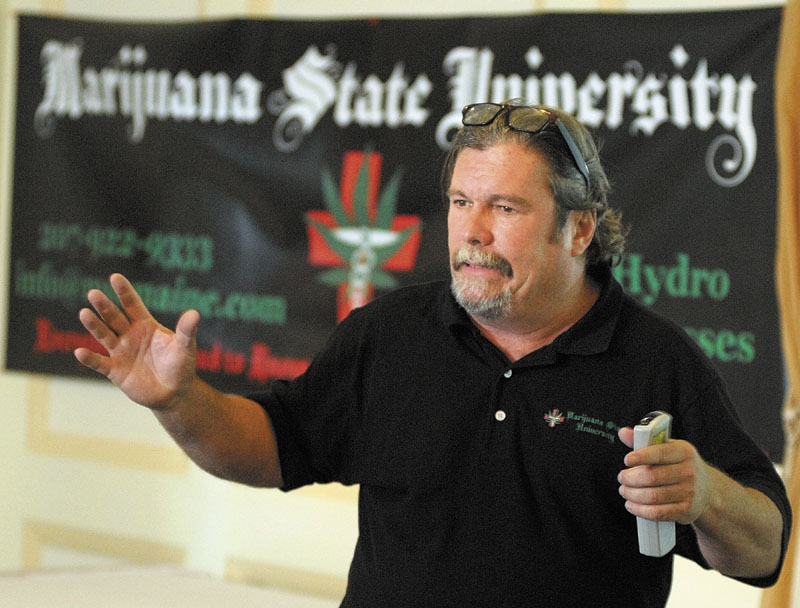 IN CLASS: Ray Logan teaches Marijuana State University on Saturday afternoon in Augusta.