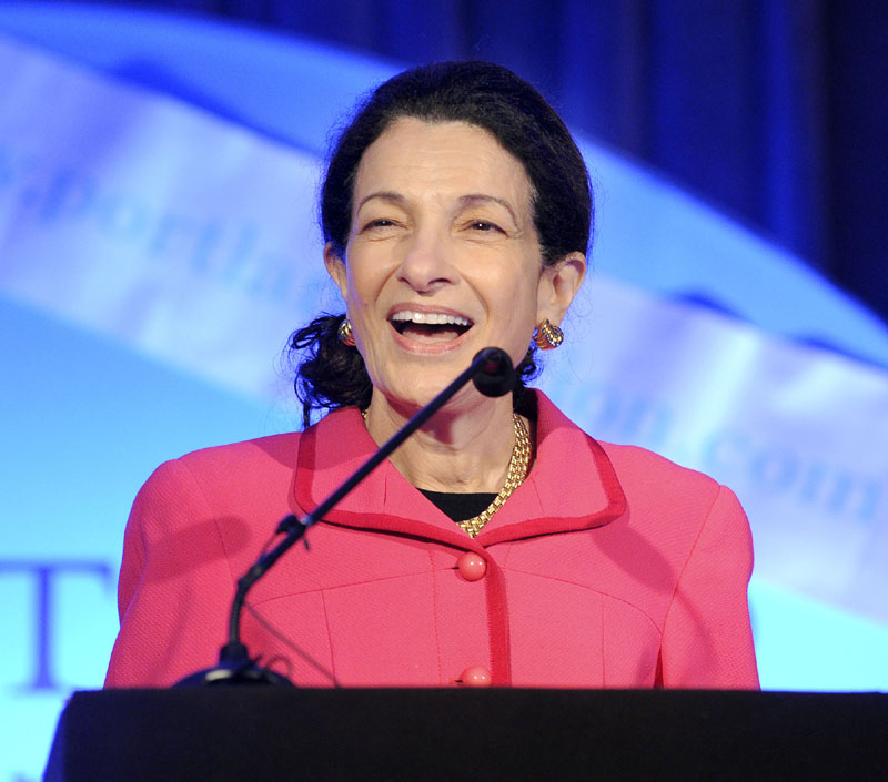 TAX TALK: U.S. Sen. Olympia Snowe, R-Maine, speaks at Portland Chamber's Eggs and Issues at the Holiday Inn by the Bay on Friday.