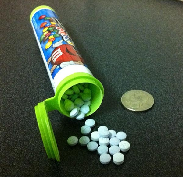 Maine State Police photo of oxycodone pills seized in the Portland raid.