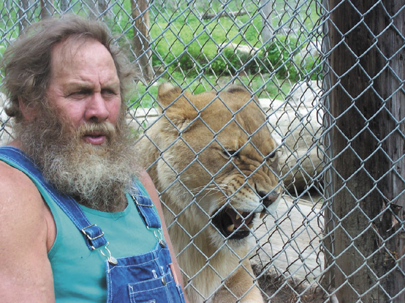 Bob Miner poses with Lilyannah, an African lion who lives at the DEW Animal Kingdom and Sanctuary in Mount Vernon. Miner says the exotic animals he keeps at his private park attract approximately 3,000 people a summer. Maine and Rhode Island are the only New England states not to ban possession of exotic animals.