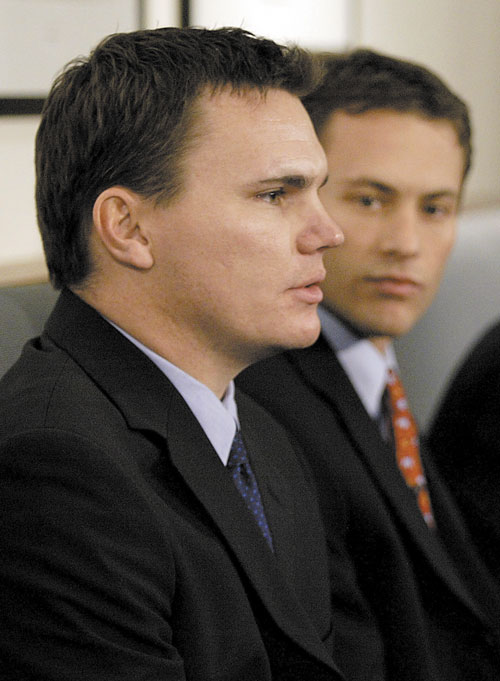 MEET THE NEW BOSS: Ben Cherington, left, shown with then-co-general manager Jed Hoyer in 2005 at Fenway Park, will be named Red Sox general manager today.