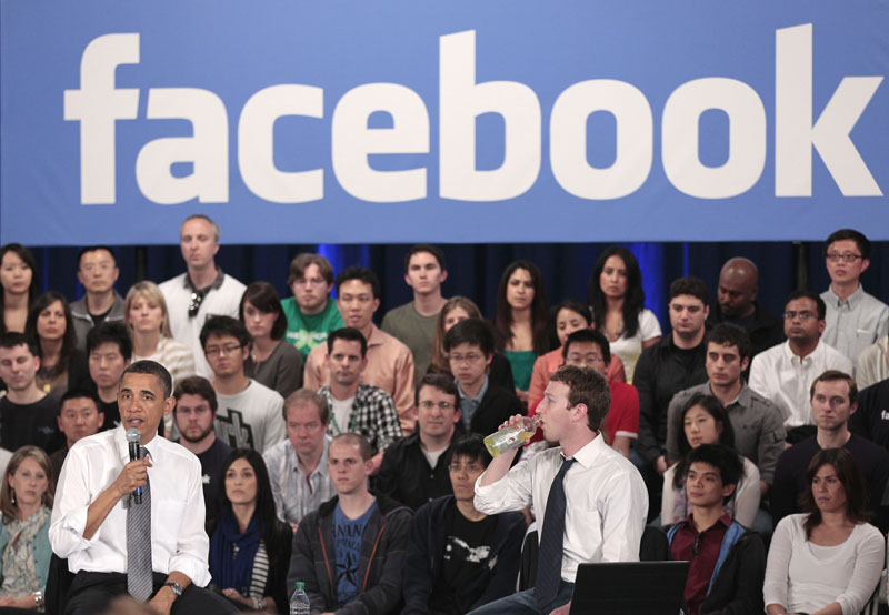 WHAT'S THE PASSWORD? President Barack Obama, left, and Facebook CEO Mark Zuckerberg, right, speak in April in Palo Alto, Calif. A Stanford University study found that on 185 heavily visited websites, a user name or user ID provided by consumers was shared with another website 61 percent of the time.
