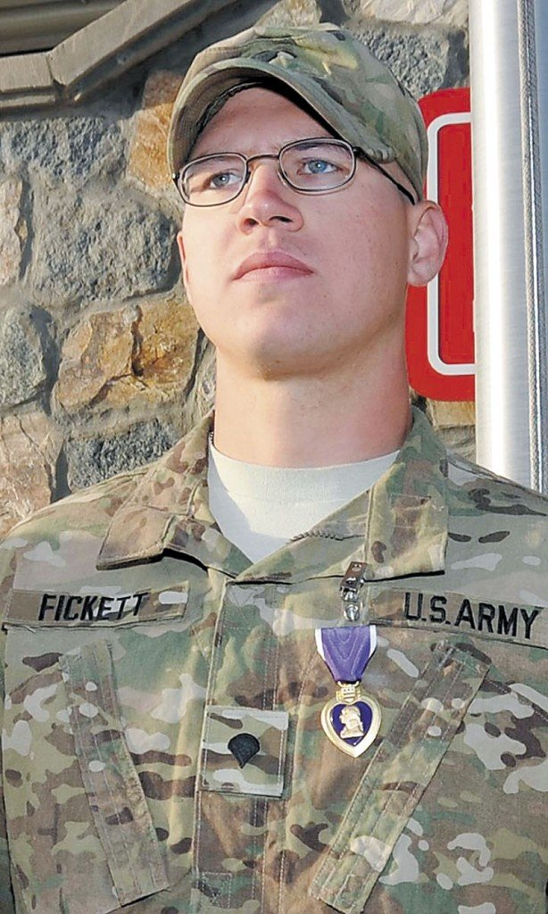 WOUNDED: Army Spc. Robert Fickett, 20, of Norridgewock, received the Purple Heart on Saturday in Afghanistan.