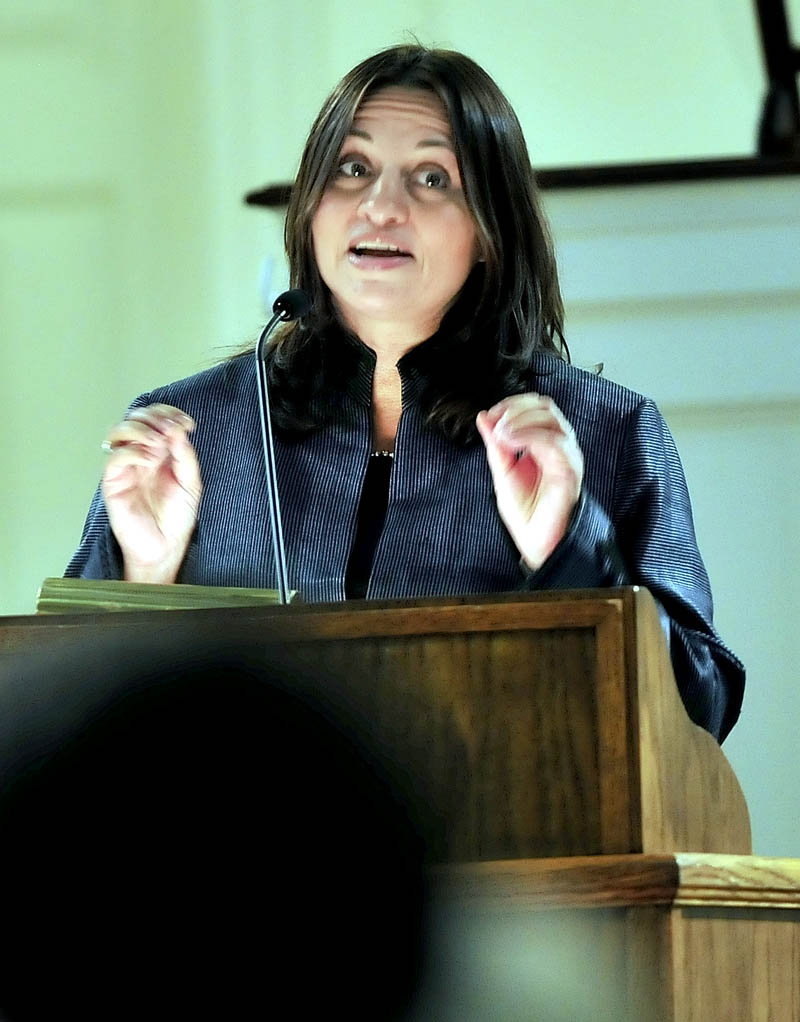 National Public Radio foreign correspondent Soraya Sarhaddi Nelson expresses her gratitude at being selected for this year's Lovejoy Award for journalism during the 59th Elijah Parish Lovejoy convocation on Sunday at Colby College in Waterville.