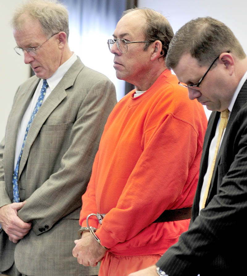 Defendant Jay Mercier listens to Justice John Nivison flanked by his attorneys John Alsop, left, and John Martin in Somerset Superior Court in Skowhegan on Thursday. Mercier has pleaded not guilty to the murder of Rita. St. Peter 31 years ago. Mercier, who has been charged with killing Rita St. Peter 31 years ago in Anson, has an extensive history in the court system. In the last 20 years, he has faced more than a dozen criminal and civil court matters.