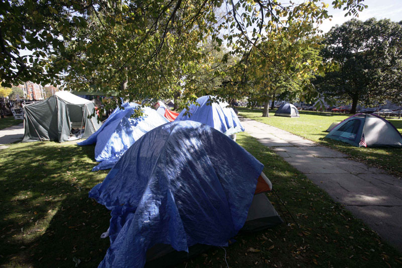 The Occupy Maine encampment in Lincoln Park in Portland, where a homemade bomb thrown into the park exploded on Sunday.