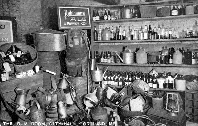 CONFISCATED: The Rum Room in Portland City Hall, where confiscated liquor and liquor-making equipment was stored, from a postcard mailed in 1928.
