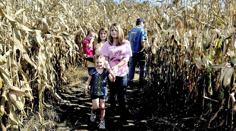 """A MAIZING: Groups of kids and adults pass each other while negotiating the 13-acre corn maize at the Sandy River farm on Route 2 in Farmington on Sunday. The maize and other attractions created by farmer Herbert """"Bussie"""" York is open on weekends through Oct. 30. In front is Destiny Anderson along with Tori Wright followed by Danielle Anderson carrying Jasmine Penney."""