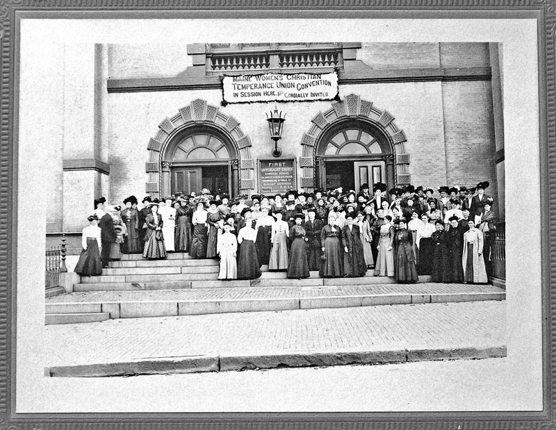 PROMOTING TEMPERANCE IN ALL THINGS: This undated photograph shows the Maine Women's Christian Temperance Union Convention in session at the First Universalist Church in Portland.