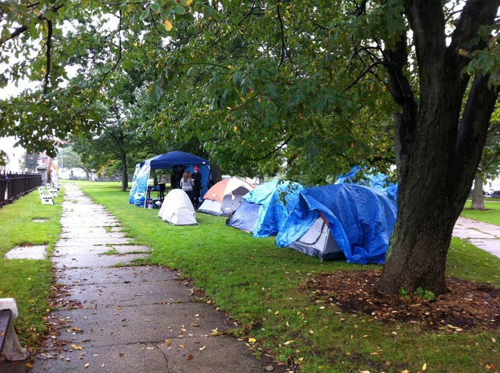 The scene in Lincoln Park this morning, where protesters stayed overnight in an assortment of tents and tarps.