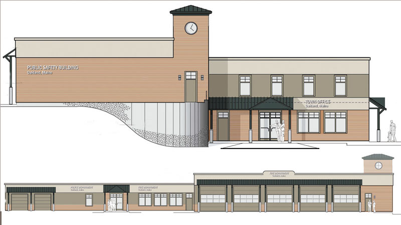 AT ISSUE: Front and side views of the proposed building for Oakland's police, fire and town offices.