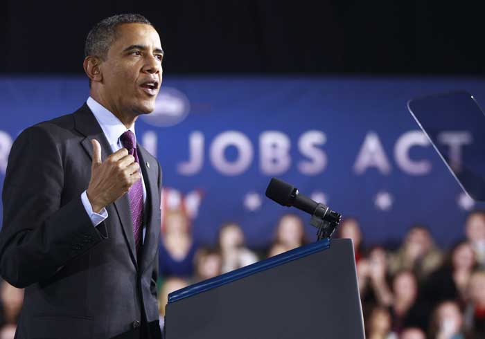 President Barack Obama speaks today at Manchester High School Central in Manchester, N.H.