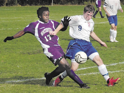 ANOTHER STEP: Chris Hall, right, and the Messalonskee boys soccer team takes on Hampden Academy in the Eastern Maine Class A title game at 5 p.m. tonight in Hampden. The Eagles lost to Hampden 1-0 in the season opener for both teams on Sept. 2.