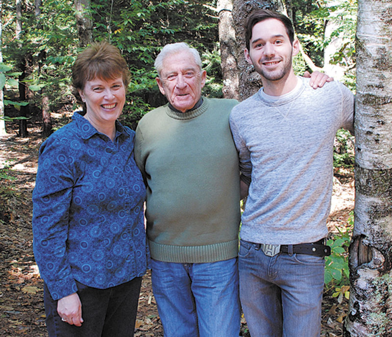 """From left, Lynn Plourde, Donn Fendler, Ben Bishop who collaborated on graphic version of Fendler's """"Lost on a Mountain in Maine."""""""