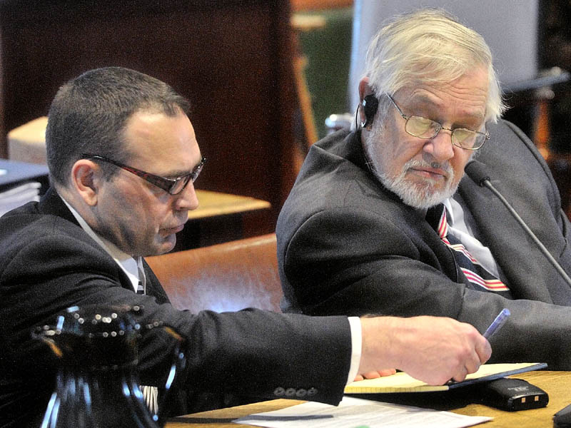TRIAL BEGINS: Raymond Bellavance Jr., left, and his attorney Andrews Campbell confer in Kennebec County Superior Court in Augusta this morning. Bellavance is accused of burning down the Grand View Topless Coffee Shop in Vassalboro in 2009. This was the first day of his trial on arson charges.