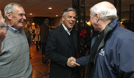 Republican presidential candidate former Utah Gov. Jon Huntsman shakes hands during a visit to the Manchester Republican Committee Christmas party in Manchester, N.H., Monday Dec. 19, 2011. (AP Photo/Charles Krupa) Republican presidential candidate former Utah Gov. Jon Huntsman shakes hands during a visit to the Manchester Republican Committee Christmas party in Manchester, N.H., Monday Dec. 19, 2011. (AP Photo/Charles Krupa)