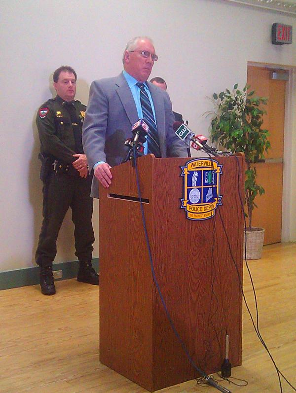 Waterville Police Chief Joseph Massey speaks at today's press conference.
