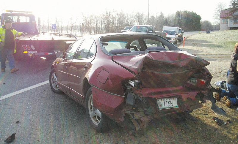 A 2002 Pontiac four-door car driven by Ruth Langdon, 61, was hit from behind by a Jeep driven by Clinton Hanna, 26, at 8:30 a.m. Monday on Route 27 in Belgrade. sp11-094442 10-55 121911