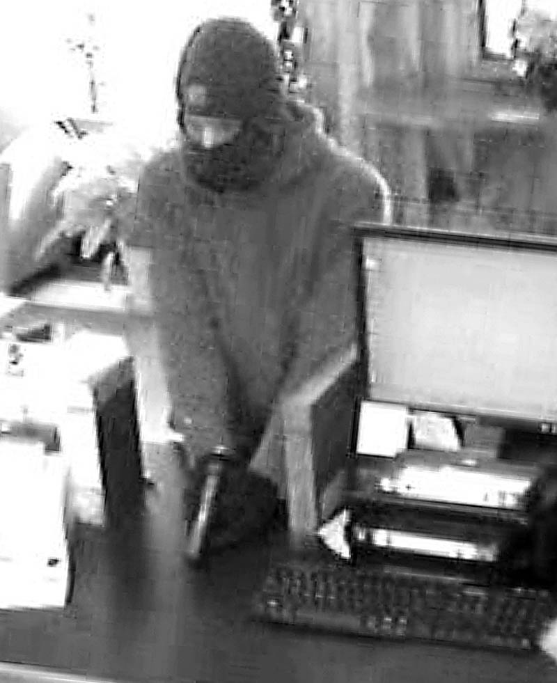 A man who robbed Border Trust Co. on Route 3 in South China on Friday is seen from the bank's surveillance camera.