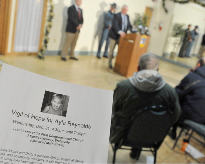 A flyer publicizes a vigil scheduled for Wednesday for 20-month-old Ayla Reynolds.