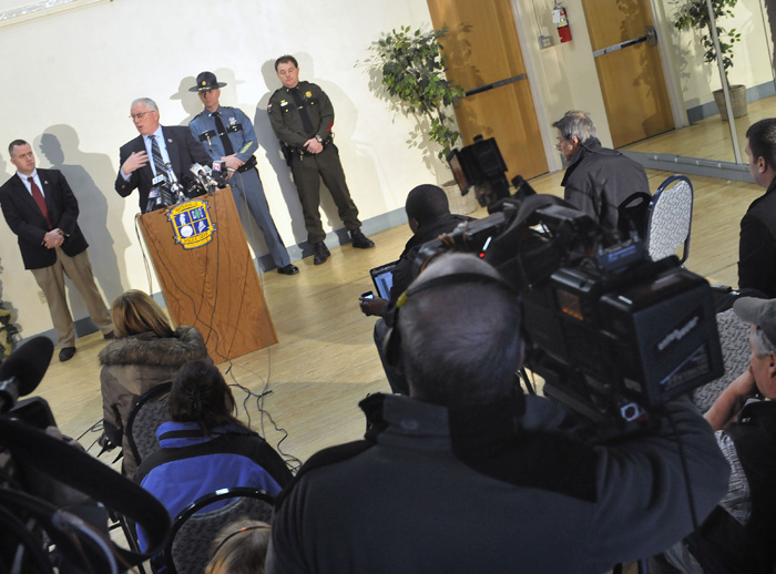 Waterville Police Chief Joseph Massey, at podium, speaks to members of the media today on developments in the investigation into the disappearance of 20-month-old Ayla Reynolds.