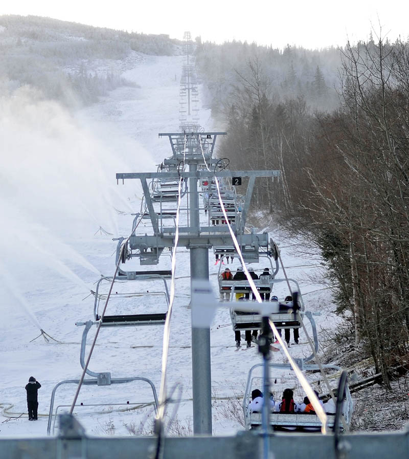 Staff photo by Michael G. Seamans Skyline lift opened at Sugarloaf Saturday morning.