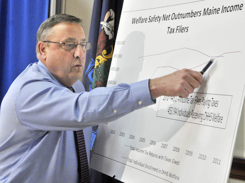 Gov. Paul LePage points at a graph during a news conference on Thursday in the State House in Augusta.