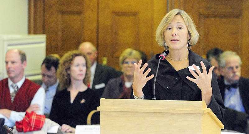 FINAL DAY OF HEARINGS: Katie Fullam Harris, senior director of government and employer relations at MaineHealth, testifies on the third day of a public hearing on Gov. Paul LePage's proposed Department of Health and Human Services budget cuts Friday at the State House in Augusta.