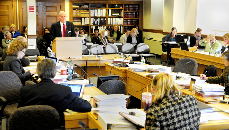MAKING HIS CASE: Edward Miller, senior vice president for health promotion and public policy for the American Lung Association in New England, testifies on the third day of a public hearing about Gov. Paul LePage's proposal to close a $221 million gap in the state Department of Health and Human Services on Friday at the State House in Augusta.